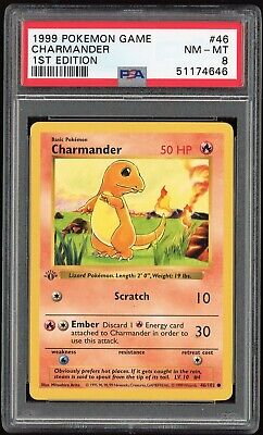 1999 Pokemon Base Set 1st Edition Charmander 46/102 PSA 8 NM-M