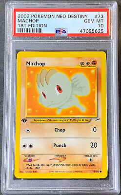 Pokemon Card 1st Edition Machop PSA Gem Mint 10, Neo Destiny #73 2002