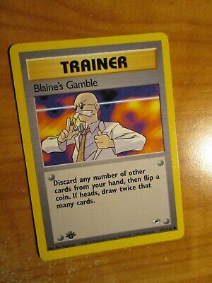 NM (1st edition) Pokemon BLAINE'S GAMBLE Card GYM HEROES Set 121/132 First Ed