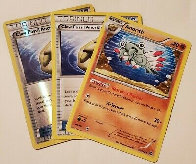 Pokemon 2 Claw Fossil Anorith 100/114 Trainer Card Steam Siege + Anorith 56/114