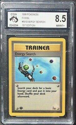 Pokemon - Cga 8.5 - Energy Search - 59/62 - 1st Edition Fossil -graded Card Psa