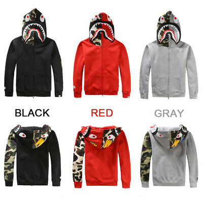 155508316296 A Bathing Ape Bape Camo Shark Men Jacket FULL ZIP Camouflage Hoodie Coat  Sweater