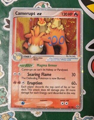 Pokemon Card Camerupt Ex 92/106 Holo Ex Emerald - LP *SWIRL* *VINTAGE* SEE PHOTO