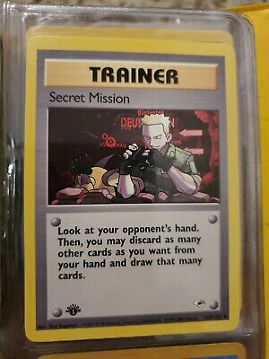Secret Mission 118/132 1st Edition Gym Heroes Trainer Pokemon Card NM