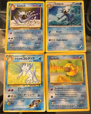 Pokemon Cards - Golduck Cards x 3 (incl. 1st Edition) + Psyduck (FOSSIL)