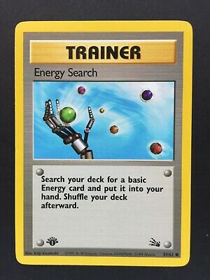 Fossil Pokemon TCG First 1st Edition Energy Search 59/62 - M/NM - PSA ready