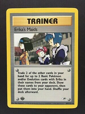 Gym Heroes Pokemon 1st Edition Trainer- Erika's Maids 109/132, NM/M, PSA Ready