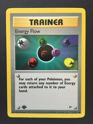 Gym Heroes Pokemon 1st Edition Trainer- Energy Flow 122/132, NM/M