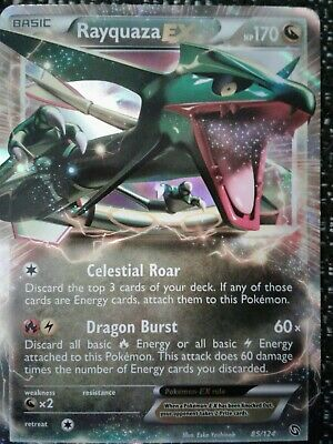 Rayquaza EX 85/124 Dragons Exalted ULTRA RARE Pokemon Card NEAR MINT