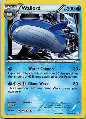 Wailord 26/124 Holo Dragons Exalted Pokemon Card ~ Played