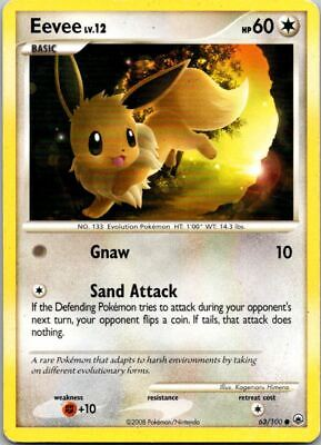 Eevee 63/100 Non-Holo Majestic Dawn Pokemon Card ~ Played