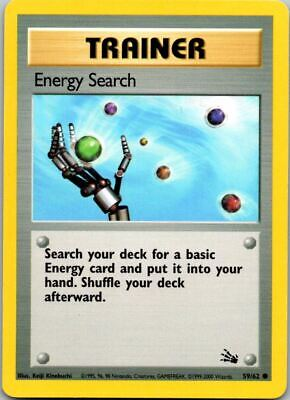 Energy Search 59/62 3rd Print 1999-2000 Fossil Pokemon Card ~ LP