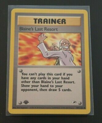 Blaine's Last Resort 105/132 1st Edition Gym Heroes Trainer Pokemon Card NM