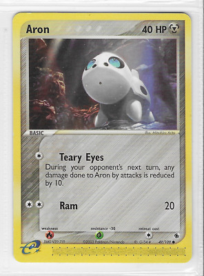 Pokemon Aron 49/109 Ruby and Sapphire Common Near Mint Condition
