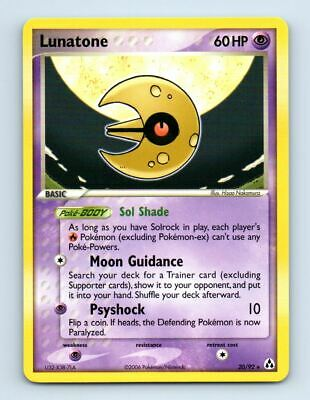 Lunatone 20/92 Non-Holo Ex Legend Maker Pokemon Card ~ Near Mint