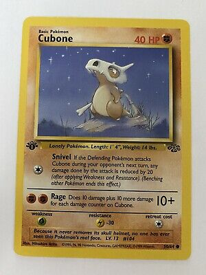 Vintage 1999 Pokemon Cubone 1st Edition Jungle Card # 50/64