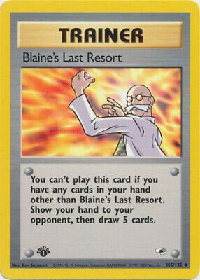 Pokemon Card - Gym Heroes 105/132 - BLAINE'S LAST RESORT (unc) *1st Edition* NM