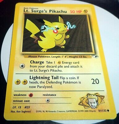 Pokemon Lt. Surge's Pikachu- 81/132 - Common Gym Heroes EX