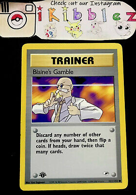 Blaine's Gamble 121/132 VLP Gym Heroes Pokemon Card. Free Tracked Shipping!