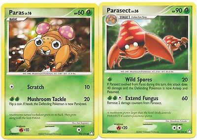 Pokemon Cards: Parasect 58/123 & Paras 92/123 Mysterious Treasures Evolution! NM