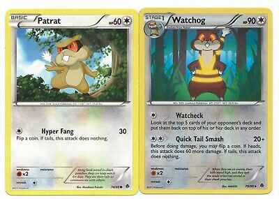 Pokemon Cards: Watchog REVERSE HOLO 79/98 & Patrat 78/98 Emerging Powers! NM