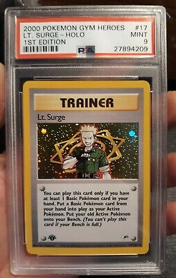 2000 Pokemon Gym Heroes 1st Edition #17 Lt. Surge Holo Trainer PSA 9 Mint WOTC
