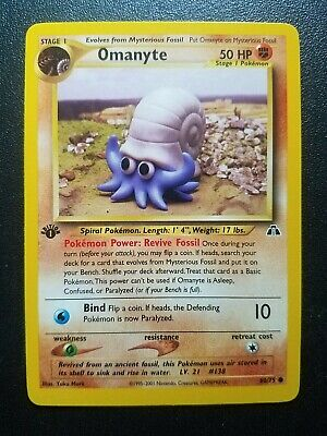 Pokemon 1st Edition Neo Discovery Omanyte Common (60/75) NEAR MINT