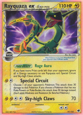 Rayquaza ex δ - 97 - Heavily Played Holofoil - EX: Dragon Frontiers - Pokemon