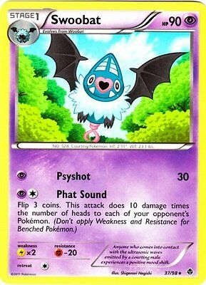 1x Swoobat - 37/98 - Rare - Reverse Holo NM-Mint Pokemon BW - Emerging Powers