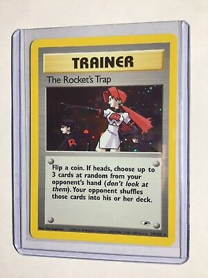 THE ROCKET'S TRAP - 19/132 - Gym Heroes - Holo - Pokemon Card - EXC/NEAR MINT