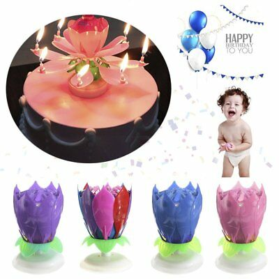 Romantic 14 Candle Musical Spinning Lotus Flower Rotating Birthday Gift Light ND