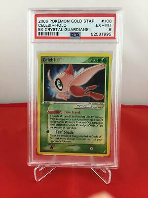 Celebi Gold Star - EX Crystal Guardians - PSA 6 EX-MT 52581995 Graded Pokemon Ca