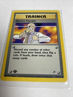 Blaine's Gamble 121/132 1st Edition Gym Heroes Trainer Pokemon Card NM