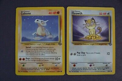 1999 Pokemon Jungle Set (2 Cards): Cubone #50, Meowth #56