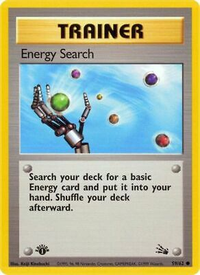 1st Edition Energy Search 59/62 - Fossil - Common Pokemon Card - Near Mint (NM)