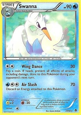 Bw Emerging Powers Pokemon Reverse Holo Rare Card - Swanna 27/98