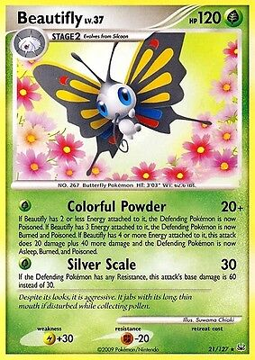 Dp Platinum Pokemon Holo Rare Card - Beautifly 21/127