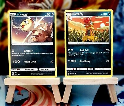 Scraggy [137/236] + Scrafty [138/236] Rare, SM Unified Minds, Mint/NM, Pokemon