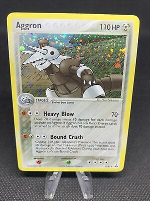 Pokemon Cards Aggron 2/92 Rare Holo EX Legend Maker Swirl LP (L6)