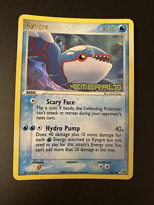 Pokemon - Rare HOLO Foil Kyogre Ex Emerald STAMP Scary Face ENG - Hydro Pump