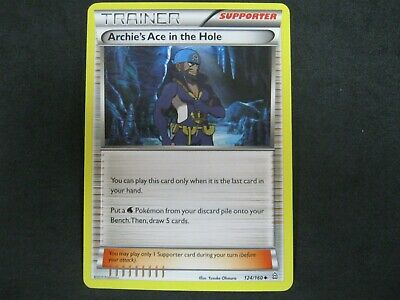 Pokemon Card Primal Clash Number 124 ARCHIE'S ACE IN THE HOLE