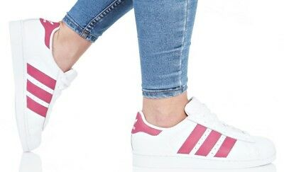 quality design 56ea5 28cc2 ADIDAS SUPERSTAR JUNIOR   WOMEN S WHITE PINK STRIPS CQ2690 SNEAKERS