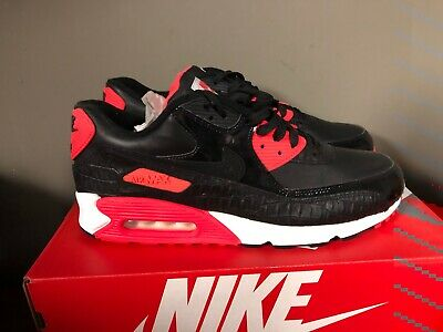 new product cac24 a9b4b Nike Air Max 90 Mens Shoes Red Black 725235-006 Croc Leather NEW