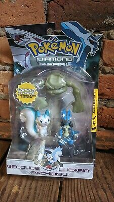 Pokemon Diamond Pearl Geodude Lucario Pachirisu Figure RARE NEW SEALED Series 1