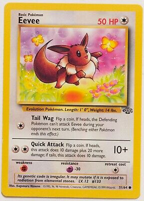 1999 Pokemon Jungle Eevee 51/64, Centered, Pack Fresh, NM MINT