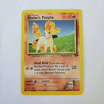 Pokemon Blaine's Ponyta Fire HP 64/132 TCG Trading Card Gym Challenge