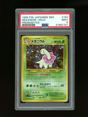Pokemon PSA 9 MINT Meganium 1999 Holo Japan Neo Genesis File First Card