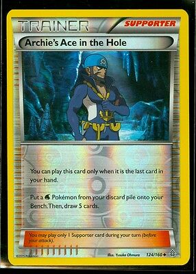 Pokemon ARCHIE'S ACE IN THE HOLE 124/160 - XY Primal Clash Rev Holo - MINT