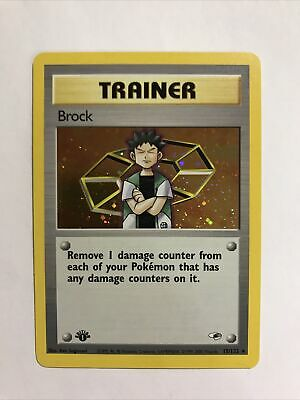 Pokemon Gym Heroes Brock 1st Edition Trainer Holo NM Mint PSA Worthy