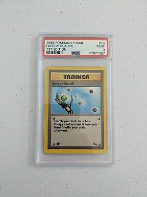 PSA 9 MINT Energy Search Trainer 1st Edition Fossil 59/62 Pokemon 1999 WOTC